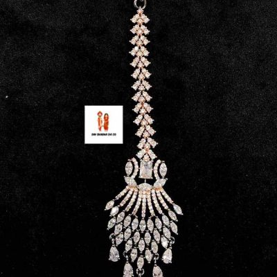 Buy American Diamond Black Rose Gold Tikka Online