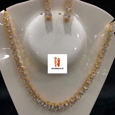 Buy American Diamond Golden Neckline with Earrings Online