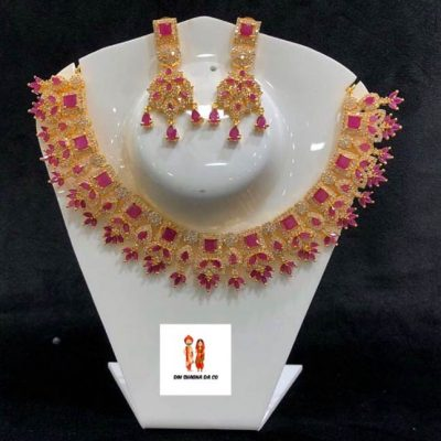 American Diamond Necklace with Earrings