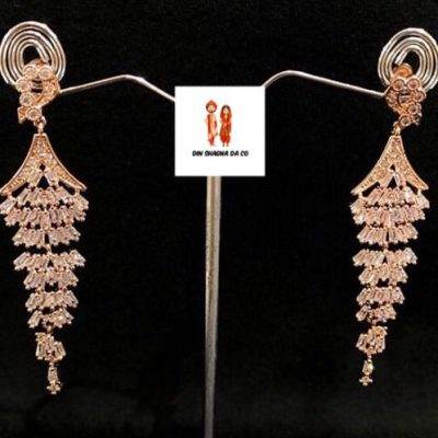 Buy American Diamond Rose Gold Earrings Online