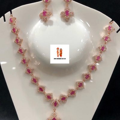 Buy American Diamond Rose Golden Necklace with Ruby Stones Online