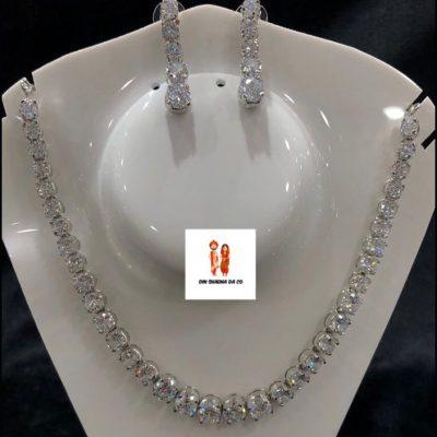 Buy American Diamond Silver Neckline with Earrings Online