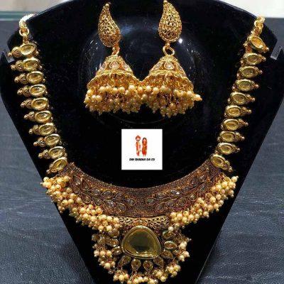 Buy Fancy Polki Kundan Set Antique Golden Online