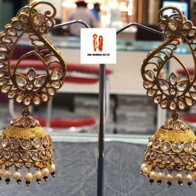 Buy Golden Brown Polki Earrings Online