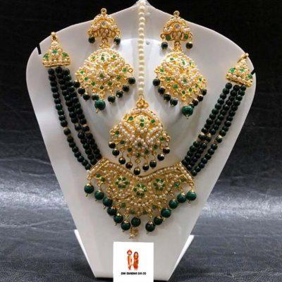 Buy Jadau Choker Set with Earrings & Tikka Online
