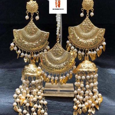 Buy Jadau Earrings with Tikka Online