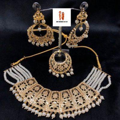 Buy Jadau Necklace with Earrings & Tikka Online