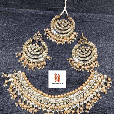 Buy Kundan Necklace with Earrings & Tikka Online