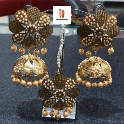 Buy Orange Gold Jadau Earrings & Tikka Online