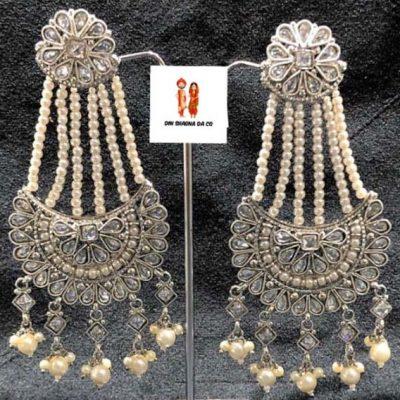 Buy Silver Polki Earrings Online