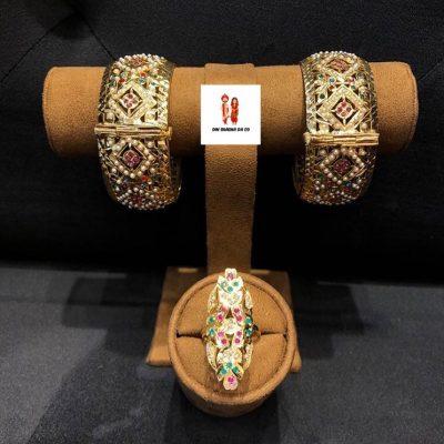 Buy Jadau Bangles with Jadau Rings Online