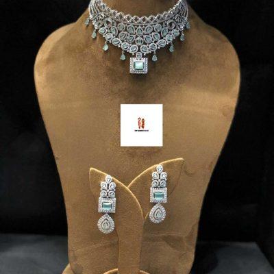 Buy Ocean Blue American Diamond Choker Set Online