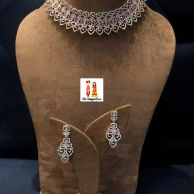 Buy American Diamond Choker Set with Earrings Online