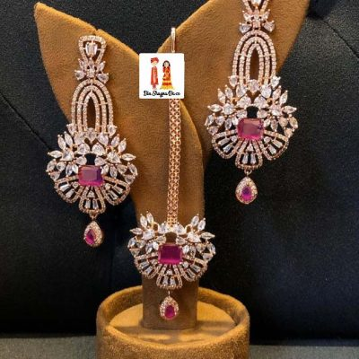Buy American Diamond Earrings & Tikka Online